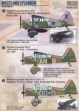 Print Scale Decals 1/72 WESTLAND LYSANDER British WWII Reconnaissance Plane