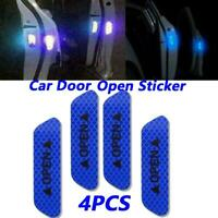 4PCS Car Door Open Sticker Blue Color Reflective Warning Decal For Universal Car