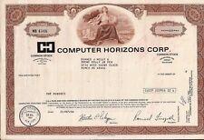 Stock certificate Computer Horizons Corp. 1983 New York state