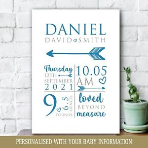 Personalised Baby Print, New Baby Boy Gift, Christening, Nursery Newborn Art 39