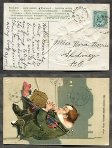 p1485 - SANDWICK BC 1909 Split Ring on Postcard to SIDNEY. Transit via Nanaimo ✉