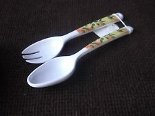 PAIR OF PRETTY WHITE MELAMINE ? SERVERS - FORK & SPOON OLIVES & BRANCH DECORATED