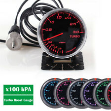 0-3 Bar Turbo Boost Vacuum Pressure Gauge Meter 7 LED Colors For Car SUV 12V