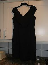 NEW LADIES BLACK LINED SATIN EFFECT SIZE 14 DRESS