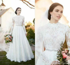 High Neck Long Sleeve Wedding Gown Country Modest Bridal Dress 4 6 8 10 12 14 16