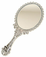 Vintage Style Silver Vanity Mirror Hand Held Girls Princess Party Antique Makeup