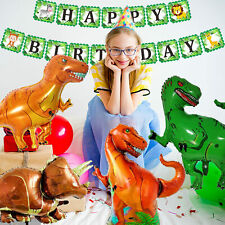 Animal Theme Happy Birthday Banner Bunting Hanging Dinosaur Foil Helium Balloons