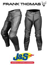 Pantalons noires noires en cuir pour motocyclette