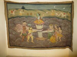"Very Large Vintage Indian Folk art painting on silk cloth, 20th century 66 x 46"""