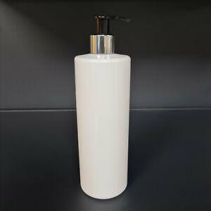 White Lotion Pump Bottle 500ml Cylindrical Pet Plastic Chrome Silver/Black  X10