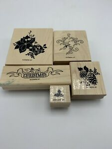 Stampin Up Rubber Stamp Pines and Poinsettias Christmas Set of 5 Wood Mount New
