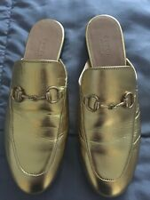 Gucci Women's Princetown  Gold Metallic Leather Slippers Gold Size 37