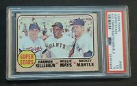 """1968 Topps #490 Mickey Mantle & Willie Mays 🏆PSA 5🏆 Killebrew """"THE MICK"""""""