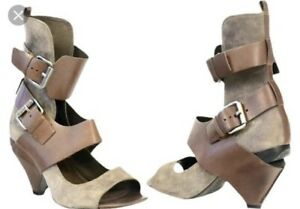 Boxed ALL SAINTS EOS Leather Suede Harness Strap Boots, 37, 4, Heel Steam Rock