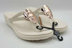 Crocs Sanrah Liquid Metallic Flip Flop Sandals  Women's Size 10 Rose Gold/White