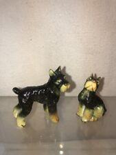 Vtg 2pc Set Bone China Miniature Schnauzer Terrier Standard Puppy Dog figurines