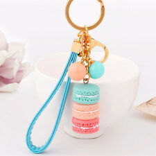 Lovely Girls Macaron Keyring Cake Keychain Metal Key ring Chain Keyfob Gift
