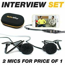 YelloWay - Dual Lavalier Microphone - Interview Microphone -2 Podcast Microphone