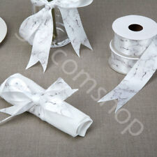 Marble Print White Satin Ribbon Lace DIY Craft Wedding Decor 38mm x 2.5m Roll