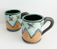 2 Artist Studio Handmade Clay Pottery Coffee Cup Mug Matte Yellow Blue Folk art