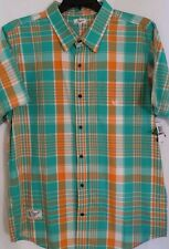 Men's L-R-G- LRG Blue Orange Plaid Short Sleeve S/S Shirt XXL 2XL NWT $56 New