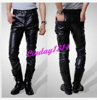 Popular Men's/Boy's Casual Slim Fit Skinny PU Faux Leather Trousers Pants Hot SZ