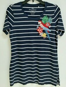 Tommy Bahama Women's Size M Embroidered T-Shirt Cotton Blend Parrot Tropical
