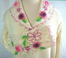 NWT STORYBOOK KNITS SPRING BLOSSOM PINK FLOWERS Sweater Size M