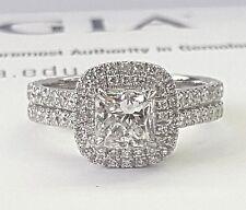 1.06 Ct Diamond 14k White Gold Engagement Ring Semi Mount Center Cushion 1 Ct