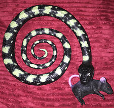 Large Plastic Curled Snake Reptile with dead Rat in its mouth 27cm wide