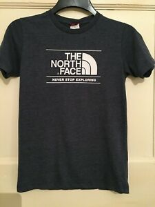 THE NORTH FACE Logo Blue Marl T-Shirt SIZE L YOUTH (12-13?)