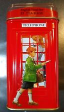 English Breakfast Tea in Collectible Red Phone Booth Bank Tin Can Container