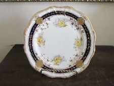 "BC & Co England Handpainted Porcelain Dessert Plate Cobalt Blue Flowers Gold 7"""