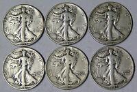 Lot of 6 Walking Liberty Silver Half Dollars 1941 1942 1943 1944 1945 1946 Fine