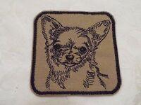 "Tan Black CHIHUAHUA Dog 3-3/4"" Embroidery Iron-on Custom Patch (E6)"