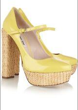 Authentic Miu Miu Patent Raffia Platform Heel Shoes Size 34.5 Designer Fashion