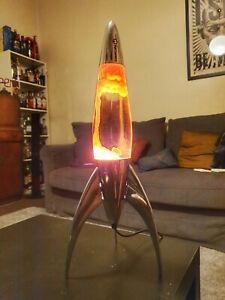 Vintage Mathmos Telstar Rocket Lava Lamp [Orange Goo/Clear Fluid]