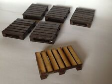 SIX WOODEN PALLETS FOR GARDEN RAILWAY 16MM SCALE. SUITABLE FOR G SCALE