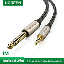 """UGREEN 3.5mm 1/8"""" Male to 6.35mm 1/4"""" Male TRS Stereo Audio Cable Braid iPod 3FT"""