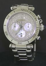 Cartier Pasha 1.5ct diamond automatic chronograph 38mm mens watch sapphire crown