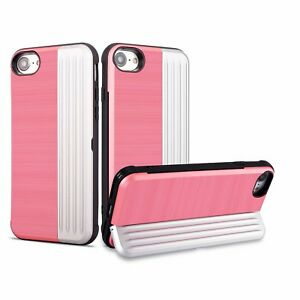 Hybrid Armor Card Holder Hard Case For Apple iPhone 6 8 7Plus Bumper Stand Cover
