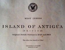 1889 Antique Nautical Sea Sailing Chart Map Antigua Carribbean (1915)