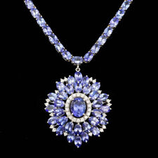 Certified Tanzanite 49.10cttw and 0.95cttw Diamond 14KT White Gold Necklace