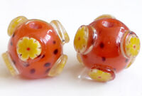 5pcs handmade Lampwork glass round Beads orange yellow flower 16mm