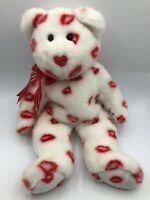 TY Beanie Buddies Collection Smooches 2001 Teddy Bear Plush Stuffed Toy Animal
