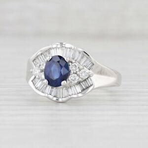 1.70ctw Blue Sapphire Diamond Halo Ring 18k White Gold Size 8.25 Engagement