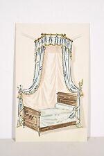 Petit pochoir déb. XX° Lit à Baldaquin, Tissu drapé bleu décoration chambre