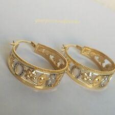 elephant clover 7 good luck hoop earring 10k Yellow white rose Gold 7 horseshoe