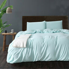 Solid Color Washed Cotton Duvet Cover Bedding Sets Pillowcase Twin/Queen/King