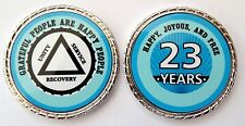 """Alcoholics Anonymous 23 Yr. Aqua Silver Rope Edge Sobriety Coin Chip 1 3/4"""""""